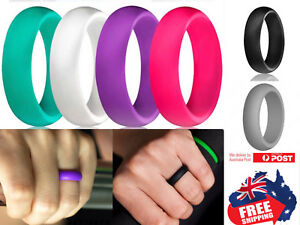 Silicone Rubber Unisex 5.5mm Wedding Ring Flexible Band Sport Gym Safe Work 1pc