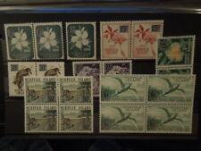 G371  NORFOLK  ISLAND   1966   BIRDS  BLOCK  OF  4  FLOWERS PAIRS MNH