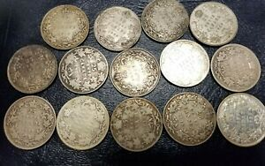 14 EARLY CANADA SILVER QUARTERS****