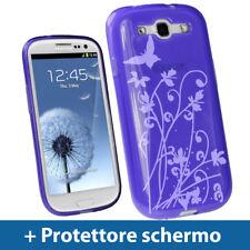 Viola Custodia Farfalla per Samsung Galaxy S3 III i9300 Android Gel Cover Rigida