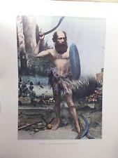 AUSTRALIE/Gravure 19°in folio couleur/Indigène Australien du Boumerang