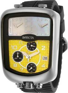 Invicta Mens S1 Rally Chronozone Dakar Triple Time Yellow MOP Dial Strap Watch