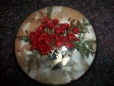 Vintage Dried Flowers & Fern in Metal Basket Domed face Plaque Picture DEcor