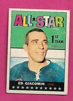 1967-68 OPC # 123 RANGERS ED GIACOMIN   AS VG+  CARD  (INV# D6867)