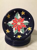 Gibson Everyday Poinsettia Holiday Christmas Dessert Salad Plates Set 5