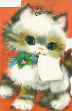 Merry Christmas Vintage Retro Kitsch Happy Cat 1970's Greeting Card !