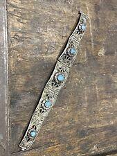Ancien Bracelet Gourmette En Argent Massif Silver Ethnique Cabochon Turquoise