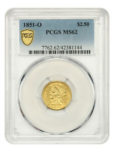 1851-O $2 1/2 PCGS MS62 - Popular New Orleans Gold Issue
