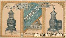 ca1890 Westminster Parlor Stove By Rathbone Sard & Co. Trade Card Folder