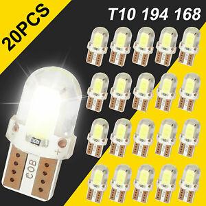 20X T10 194 168 W5W 2825 White COB LED License Plate Interior Light Bulbs 6000K