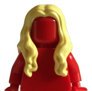 Lego minifigure hair - Long wavy centre part hair (yellow)