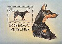 GAMBIA DOGS OF THE WORLD STAMPS SOUVENIR SHEET 1997 MNH DOBERMAN PINSCHER #1991