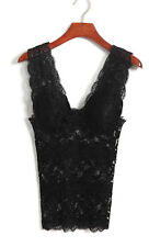 Women Sexy Lace Padded Push Up V Neck All-match Tank Top Cami Sleeveless Shirt
