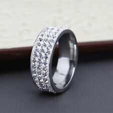 Stainless Steel Gold Silver Crystal Ring Men Women Wedding Band Rings New