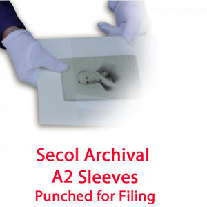 Secol A2 Archival Security Pockets - 50 Sleeves Punched for Filing