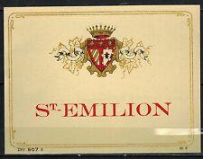 Ancienne Etiquette de Vin - Blason - Saint.Emilion - Chromo Doré - Réf.410