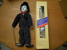 "Vintage Boxed Charlie Chaplin Porcelain Doll 18"" Tall Pin Stripe Suit Metal Cane"