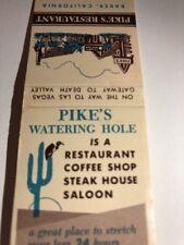 Vintage Matchbook  Cover Pike's Restaurant Baker California