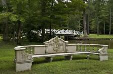 "Large Curved Estate Garden Bench of Hand Carved Granite, 200 ""Long"