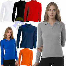 POLO da DONNA a MANICA LUNGA Cotone JHK Lady 3 BOTTONI Spacchi WOMAN T-shirt NEW