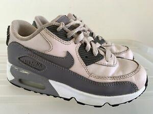Girls NIKE Air Max 90 Pink Grey Sneakers US 1Y #17984