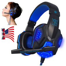 Surround Stereo Gaming Headset Headband Headphone USB 3.5mm Mic LED for PC