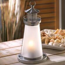 Lighthouse Watch Tower Statue Lantern Votive Light Glass Dome Anchor Beacon Mesh