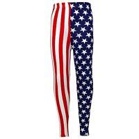 Girls USA Legging Kids Stripes & Stars Print American Leggings Age 7-13 Years