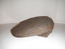 CHRISTYS of LONDON 100% italian Wool HERRINGBONE brown driving Cap Hat New LARGE