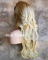 Blonde Mix 3/4 Wig Fall Hairpiece Long Wavy Gorgeous Layered Hair Piece XL
