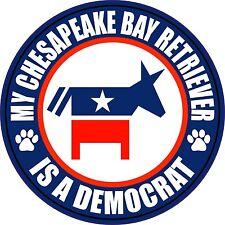 """My Chesapeake Bay Retriever Is A Democrat 5"""" Sticker"""