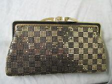 Vintage Lotte purse with original mirror Royal Mesh Made for Metal gold & black