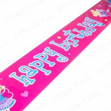 6x LONG PINK HAPPY BIRTHDAY FAIRY BANNERS Girls/Kids Party Foil Sign 2.5ft SHINY