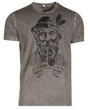 Marjo Trachten T-Shirt Kurtl Shirt kurzarm grau Herren Gr. L