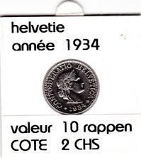 S 1) pieces suisse de 10  rappen de 1934  voir description
