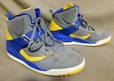 AIR JORDAN FLIGHT GRAY BLUE YELLOW MESH LEATHER BASKETBALL 616816 SHOE SZ 10