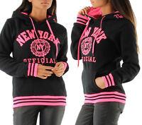 PULL SWEAT A CAPUCHE FEMME TEDDY NY OFFICIAL NOIR ROSE T.XS S M L XL