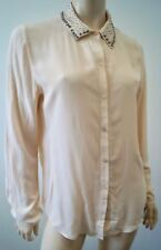 Scotch & Soda Maison Scotch color rosa pálido Gun Metal Stud Cuello Blusa Camisa Top M