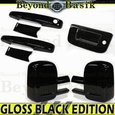 07-13 Silverado Sierra Reg/Ext GLOSS BLACK Door Handle Covers+MirrorT+TailgateK