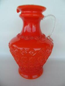 Vintage Large Retro Burnt Orange Tuscano Empoli Italian glass cased jug ewer