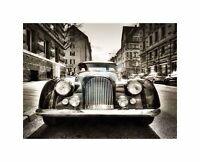 Morgan Oldtimer Vintage Car Black White Photo Art Picture Canvas Print