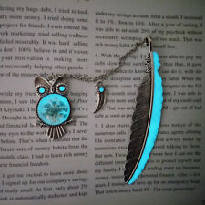 1PC Luminous Night Owl Bookmark Label Read Maker Feather Book Mark Reading Tool