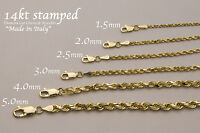"14k Solid Yellow Gold  Rope Chain Necklace Bracelet 1mm-9mm Men Women Sz 7""-36"""