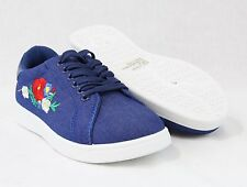 Women Lace Up Flower Embroidered Fashion Floral Sneakers Comfort Casual Shoes