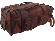 "30""Men's genuine Leather luggage gym weekend overnight duffle bag large vintage"