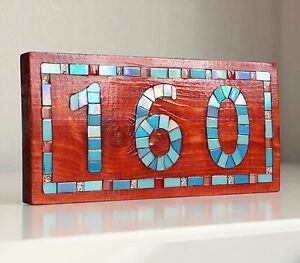 Personalized Wooden House Number Door Sign Address Plaque Mosaic Art Decor