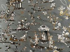 RUBELLI Principessa Kocacin argento lampas brocade chinoiserie grey new 5+ yards