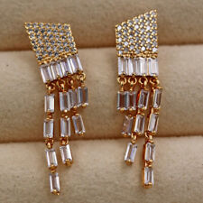 18K Gold Filled - 1.5'' Multilayer Gems Geometry Topaz Wedding Stud Earrings DM