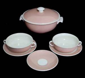 Vintage 1950s Villeroy & Boch Santos pink & white tureen, soup coupes & saucer.