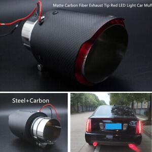 63mm Strong Steel Car Muffler Matte Carbon Fiber Exhaust Tip Kit w/Red LED Light